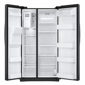 """RS25J500DSG Samsung 36"""" 25 cu. ft. Capacity Side by Side Refrigerator with Digital LED Display and External Filtered Water/Ice Dispenser - Black Stainless Steel"""