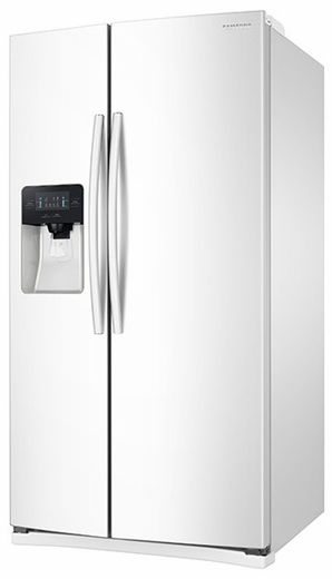 """RS25J500DWW Samsung 36"""" 25 cu. ft. Capacity Side-By-Side Refrigerator with LED Lighting  & External Dispenser - White"""