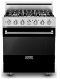 "RVDR33025BBK 30"" Viking 3 Series Freestanding Duel Fuel Range with Five Sealed Burners and SureSpark Ignition System - Natural Gas - Black"