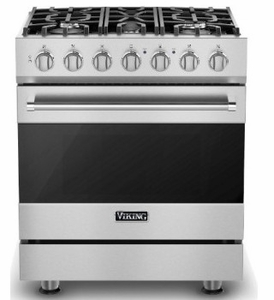 "RVDR33025BSS 30"" Viking 3 Series Freestanding Duel Fuel Range with Five Sealed Burners and SureSpark Ignition System - Natural Gas - Stainless Steel"
