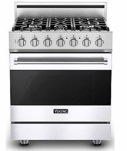 """RVDR33025BWH 30"""" Viking 3 Series Freestanding Duel Fuel Range with Five Sealed Burners and SureSpark Ignition System - Natural Gas - White"""
