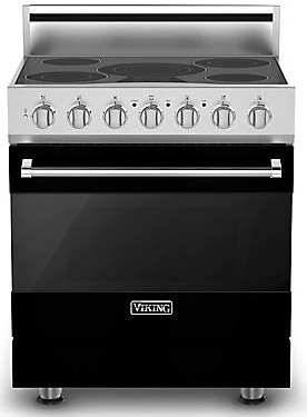 "RVER33015BBK Viking 30"" Electric Self Cleaning Range with Glass Ceramic Surface - Natural Gas - Black"