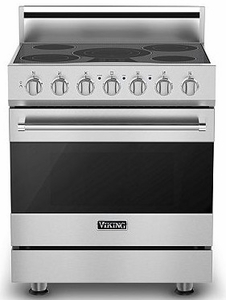 "RVER33015BSS Viking 30"" Electric Self Cleaning Range with Glass Ceramic Surface - Electric - Stainless Steel"