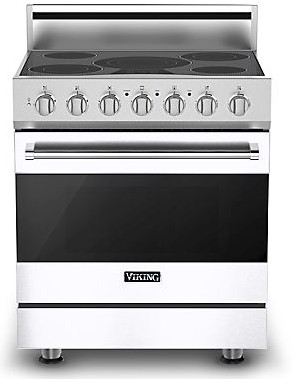 "RVER33015BWH Viking 30"" Electric Self Cleaning Range with Glass Ceramic Surface - Natural Gas - White"