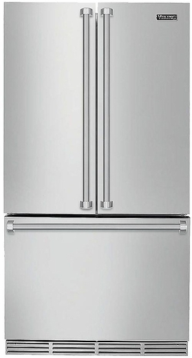 "RVRF3361SS Viking 36"" Counter Depth Freestanding French Door Refrigerator with Premium Air Purification System - Stainless Steel"