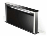 """SCLX3015BKNBB Faber 30"""" Scirocco Lux Down Draft Range Hood with Pro Motor and LED Digital Touch Controls - Black Glass with Stainless Steel"""