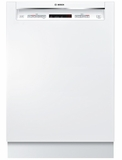 "SHEM63W52N Bosch 300 Series 24"" Recessed Handle Dishwasher with Front Controls and AquaStop - White"