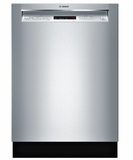 """SHEM63W55N Bosch 300 Series 24"""" Recessed Handle Dishwasher with Front Controls and AquaStop - Stainless Steel"""