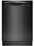 "SHEM63W56N Bosch 300 Series 24"" Recessed Handle Dishwasher with Front Controls and AquaStop - Black"
