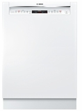 "SHEM78W52N Bosch 800 Series 24"" Recessed Handle Dishwasher with Front Controls and AquaStop - White"