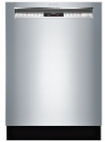 """SHEM78W55N Bosch 800 Series 24"""" Recessed Handle Dishwasher with Front Controls and AquaStop - Stainless Steel"""