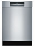 "SHEM78WH5N Bosch 800 Series 24"" Recessed Handle Dishwasher with Top Controls and AquaStop - Stainless Steel"