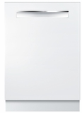 """SHPM78W52N Bosch 800 Series 24"""" Pocket Handle Dishwasher with Top Controls and AquaStop - White"""