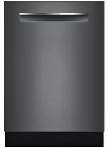 "SHPM78W54N Bosch 800 Series 24"" Pocket Handle Dishwasher with Top Controls and AquaStop - Black Stainless Steel"