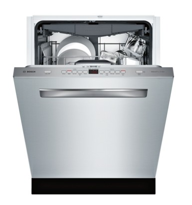 "SHPM78W55N Bosch 800 Series 24"" Pocket Handle Dishwasher with Top Controls and AquaStop - Stainless Steel"