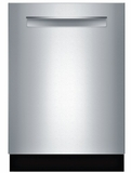 "SHPM98W75N Bosch 800 Series 24"" Pocket Handle Dishwasher with Top Controls and AquaStop - Stainless Steel"