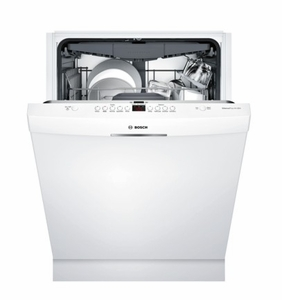 "SHSM63W52N Bosch 300 Series 24"" Scoop Handle Dishwasher with Top Controls and AquaStop - White"