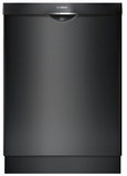 """SHSM63W56N Bosch 300 Series 24"""" Scoop Handle Dishwasher with Top Controls and AquaStop - Black"""