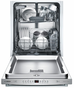 """SHX5AV55UC Bosch Ascenta 24"""" Bar Handle Dishwasher with RackMatic Upper Rack - Stainless Steel"""