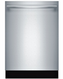 "SHXM65W55N Bosch 500 Series 24"" Bar Handle Dishwasher with Top Controls and AquaStop - Stainless Steel"