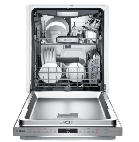 "SHXM98W75N Bosch 800 Series 24"" Bar Handle Dishwasher with Top Controls and AquaStop - Stainless Steel"