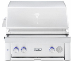 "SMART30NG Lynx 30"" Built-In Smart Natural Gas Grill with Two Trident Burners and Blue LED Lights - Stainless Steel"