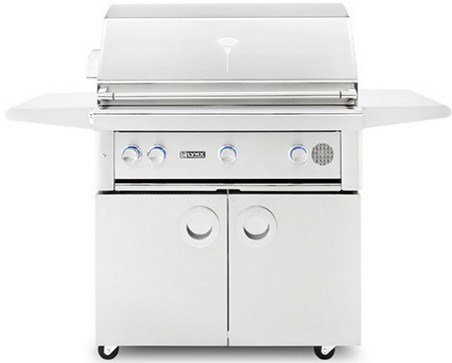 """SMART36FNG Lynx 36"""" Natural Gas Freestanding Smart Grill with Three Trident Burners and Blue LED Lighting - Stainless Steel"""