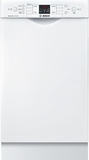 "SPE53U52UC Bosch 300 Series 18"" Recessed Handle Dishwasher - White"