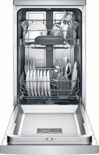 "SPE53U55UC Bosch 300 Series 18"" Recessed Handle Dishwasher - Stainless Steel"