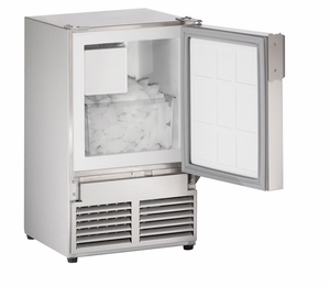 "SS1095NF-20A U-Line Marine Series 14"" Marine Crescent Ice Maker - No Flange - Field Reversible - 220V - Stainless Steel"