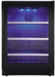"SSBC056D2BS Danby 24"" Silhouette Select Series Freestanding Compact Beverage Center with Blue LED Track Lighting and Alarm System - Black"