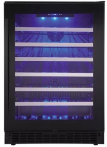 "SSWC056D1B Danby 24"" Wine Cooler with Zero-Clearance Hinge System and Alert Alarms - Black"