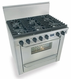 "TPN311-7BW Five Star 36"" Pro Style Liquid Propane Range with Six Sealed Burners - Stainless Steel"