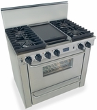 "TPN331-7BW Five Star 36"" Pro Style Gas Convection Range with Sealed Burners - Liquid Propane - Stainless Steel"