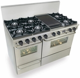 "TPN525-7BW Five Star 48"" Pro Style Dual-Fuel Open Burner Self-Cleaning Convection Range - Liquid Propane - Stainless Steel"