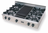 TTN036-7 Five Star 36'' Natural Gas Pro Cooktop with 4 Open Burners & Reversible Grill/Griddle - Stainless Steel