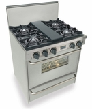 """TTN260-7BW Five Star 30"""" Pro Style All Gas Range with Open Burners - Natural Gas- Stainless Steel"""