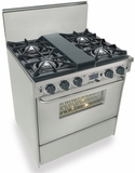 """TTN275-7BW Five Star 30"""" Pro Style Dual-Fuel Self-Cleaning Convection Range with Open Burners - Natural Gas- Stainless Steel"""
