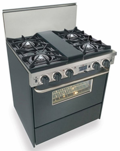"""TTN275-7W Five Star 30"""" Pro Style Dual-Fuel Self-Cleaning Convection Range with Open Burners - Natural Gas - Black"""