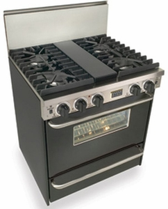 """TTN281-7W Five Star 30"""" Pro Style Natural Gas Convection Range with Sealed Burners - Natural Gas - Black"""