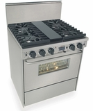 """TTN287-7BW Five Star 30"""" Pro Style Dual-Fuel Self-Cleaning Convection Range with Sealed Burners - Natural Gas- Stainless Steel"""