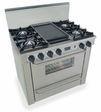 """TTN310-7BW Five Star 36"""" Pro Style Natural Gas Range with Open Burners - Stainless Steel"""