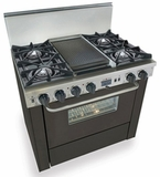 "TTN325-7W Five Star 36"" Pro Style Dual-Fuel Self-Cleaning Convection Range with Open Burners - Natural Gas - Black"