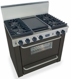 "TTN331-7W Five Star 36"" Pro Style All Gas Convection Range with Sealed Burners - Natural Gas - Black"