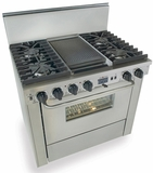 """TTN337-7BW Five Star 36"""" Pro Style Dual-Fuel Self-Cleaning Convection Range with Sealed Burners - Natural Gas - Stainless Steel"""