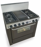"TTN337-7W Five Star 36"" Pro Style Dual-Fuel Self-Cleaning Convection Range with Sealed Burners - Natural Gas - Black"