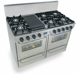"""TTN510-7BW Five Star 48"""" Pro Style Gas Range with Open Burners - Natural Gas - Stainless Steel"""