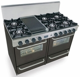 "TTN510-7W Five Star 48"" Pro Style Gas Range with Open Burners - Natural Gas - Black"