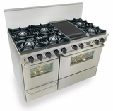"""TTN525-7BW Five Star 48"""" Pro Style Dual Fuel Self-Cleaning Convection Range with Open Burners - Natural Gas - Stainless Steel"""