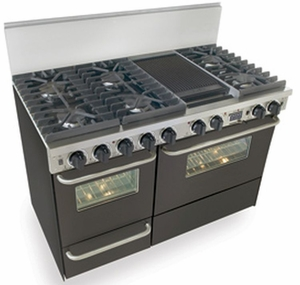 """TTN537-7W Five Star 48"""" Pro Style Dual-Fuel Range Sealed Burners Self-Cleaning Convection Range - Natural Gas - Black"""